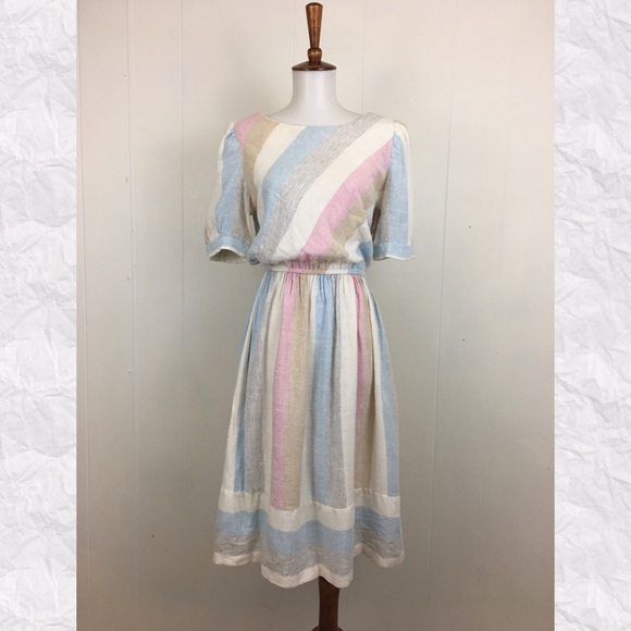 Vintage Dresses & Skirts - Vintage 70's Striped Short Sleeve Day Dress